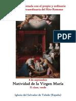 8 de Septiembre.Natividad de La Virgen María. Propio y Ordinario de la santa misa