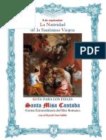 8 de septiembre. La natividad de la Virgen. Guía de los fieles para la santa misa cantada