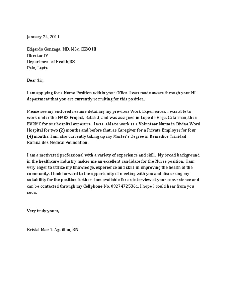 Sample cover letter for first part time job