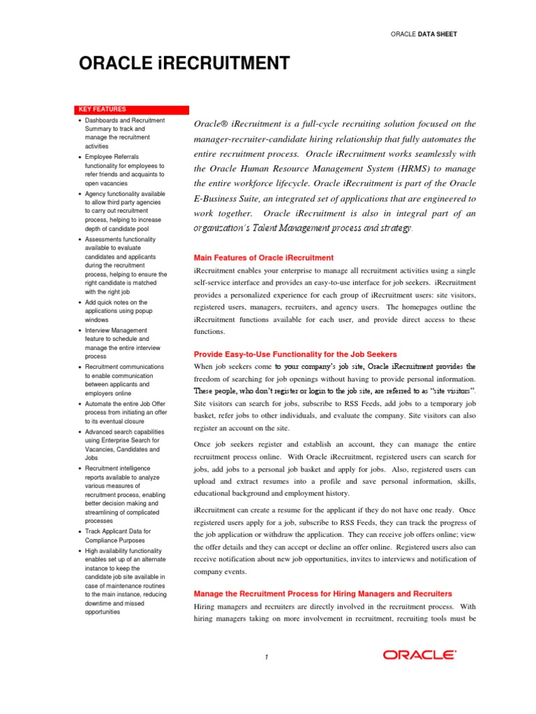 oracle irec datasheet recruitment oracle corporation