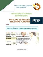 INFORME DE DETERMINACION DE DENSIDAD EN LECHE (2)