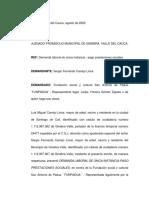 Demanda laboral-pago prestasiones sociales. Sergio Fernando Carrejo.1