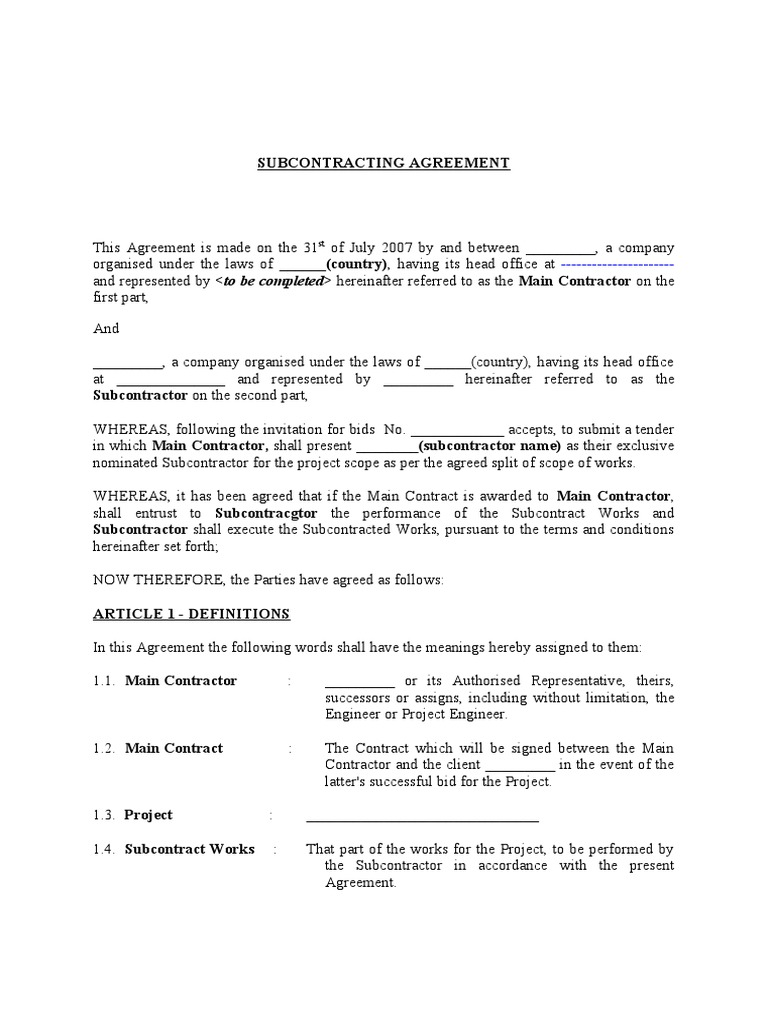 Subcontracting Agreement Nominated Subcontractor Guarantee