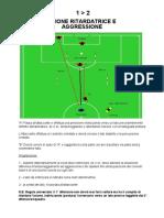 esercizio 1 contro 2 azione ritardatrice e aggressione