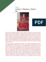 Importance of Bottu/Thilakam/Bindi/Sindhoor/Tikli.