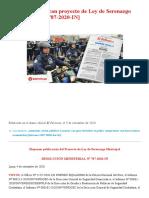 ¡Atención! Publican proyecto de Ley de Serenazgo Municipal [RM 787-2020-IN] _ LP