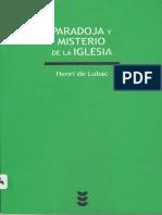 H. DE LUBAC, Paradoja y misterio de la Iglesia cáp 1