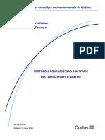 Protocole pour les essais d'aptitudes des laboratoires d'analyse