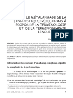 SWIGGERS, Pierre (2010). Le métalangage de la linguistique