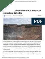 Acciones de Orosur suben tras el anuncio de proyecto en Colombia _ Minería en Línea
