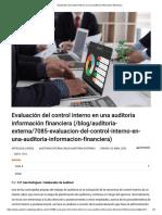 Evaluación del control interno en una auditoría información financiera