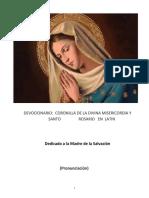 Coronilla y Rosario en latin cuaderno latin