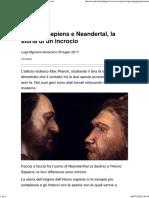 Sapiens e Neandertal, la storia di un incrocio