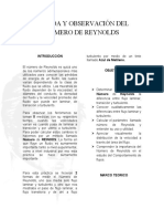 MEDIDA Y OBSERVACIÓN DEL NUMERO DE REYNOLDS