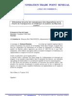 Modèle Attestation de prise de connaissance des dispositions de la Charte de Transparence
