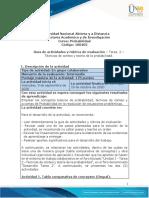 Guía de actividades y rúbrica de evaluación – Tarea  2 – Técnicas de conteo y teoría de la probabilidad