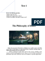 Text 1 The Philosophy of dance