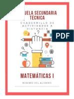 Cuadernillo 1er Grado Matematicas Secundaria Apoyo Contingencia 2020-2021