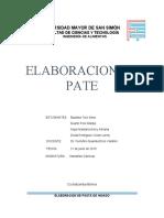 INFORME ELABORACION DE PATÉ