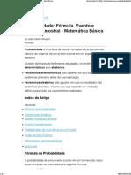 Probabilidade_ Fórmula, Evento e Espaço Amostral - Matemática Básica