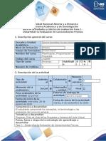 Guía de actividades y rubrica de evaluación - Fase 1 - Desarrollar la evaluación de conocimientos previos