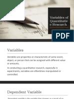 Variables of Quantitative Research