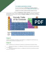 Descripción de la tabla periódica actual