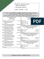 Mississippi 2020 General Election Sample Ballot