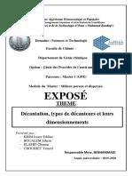 Décantation, types de décanteurs et leurs dimensionnements