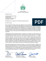 Copy of letter sent to President Trump