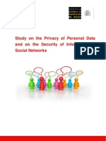 Study on the Privacy of Personal Data and on the Security of Information in Social Networks