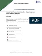 Hindu Nationalism in Action The Bharatiya Janata Party and Indian Politics