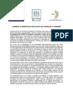Declaración Regional Cuidemos la democracia para que no sea víctima de la pandemia