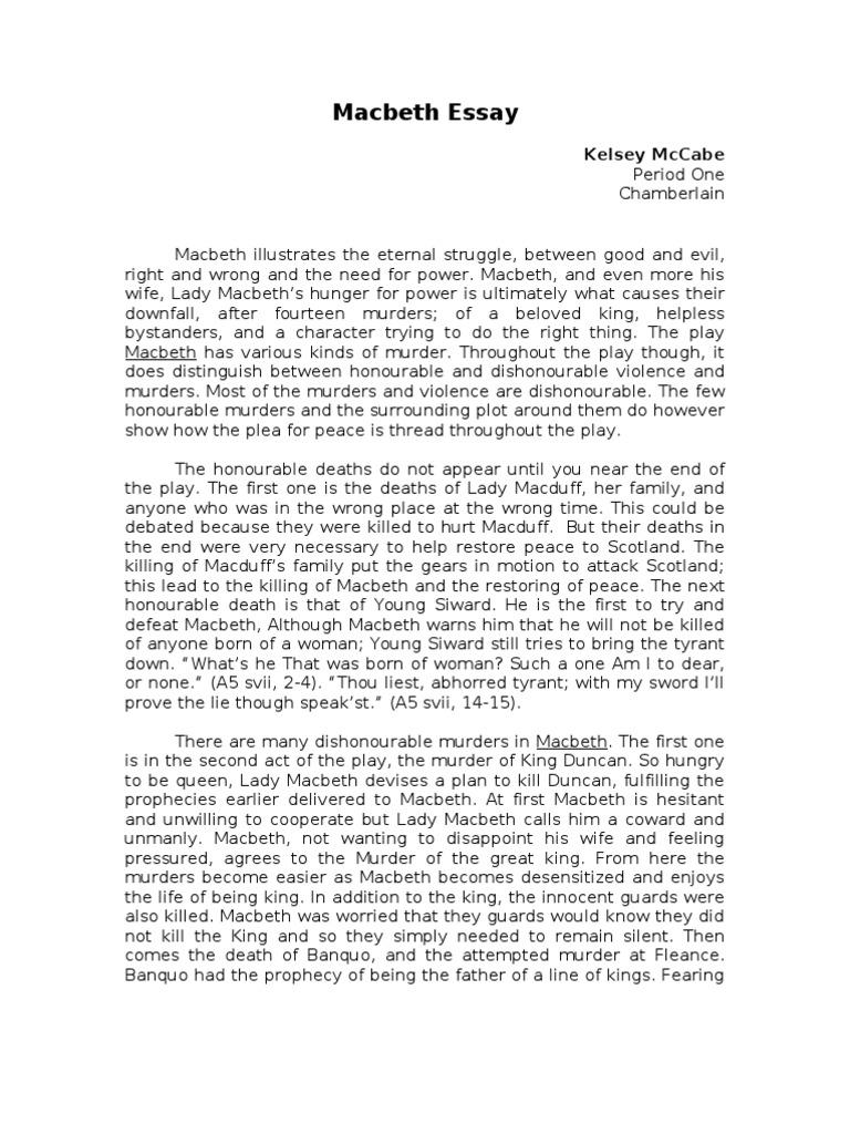 Macbeth Essay example - Words | Bartleby