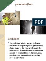 Fiche métier Géologue minier(ère)