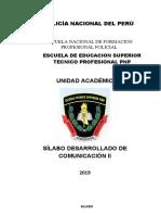 SILABO DESARROLLADO DE COMUNICACIÓN II 2019