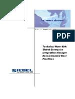 Siebel Enterprise Integration Manager Recommended Best Practices
