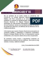 COMUNICADO N° 66 | El Colegio Médico del Perú