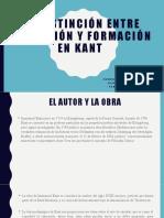 La distinción entre educación y formación en Kant