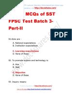 Solved MCQs of SST FPSC Test Batch 3-Pert-II