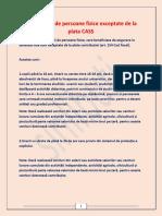 19 Categorii de Persoane Fizice Exceptate de La Plata CASS