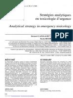 strategies analytiques en toxico d'urgence