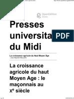 BOIS Guy - La croissance agricole du haut Moyen Age. Le maçonnais au xesiècle - PUM 1990