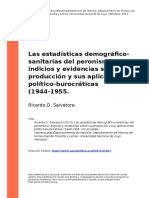 Ricardo D. Salvatore (2013). Las estadisticas demografico-sanitarias del peronismo indicios y evidencias sobre su produccion y sus aplica (..)