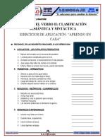 CLASIFICACIÓN DEL VERBO Y VERBOIDES - EJERCICIOS DE APLICACIÓN