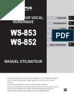 Manuel Enregistreur vocal olympus ws 852 CCV