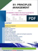 PRINCIPLES OF MANAGEMENT- UNIT 1