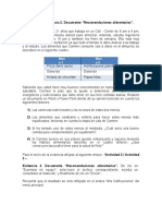 """Actividad 2 – Evidencia 2. Documento """"Recomendaciones alimentarias""""."""