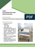 Ficha técnica - Cama multiproposito para hospitalización