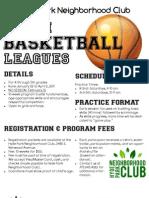 Youth Basketball Leagues @ Hyde Park Neighborhood Club Jan-Apr 2011